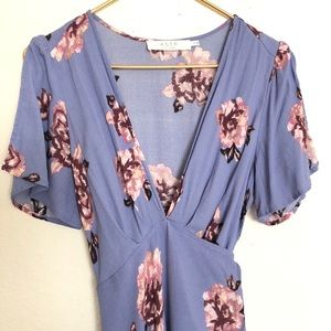 Astr Dresses - ASTR Selma periwinkle floral wrap dress